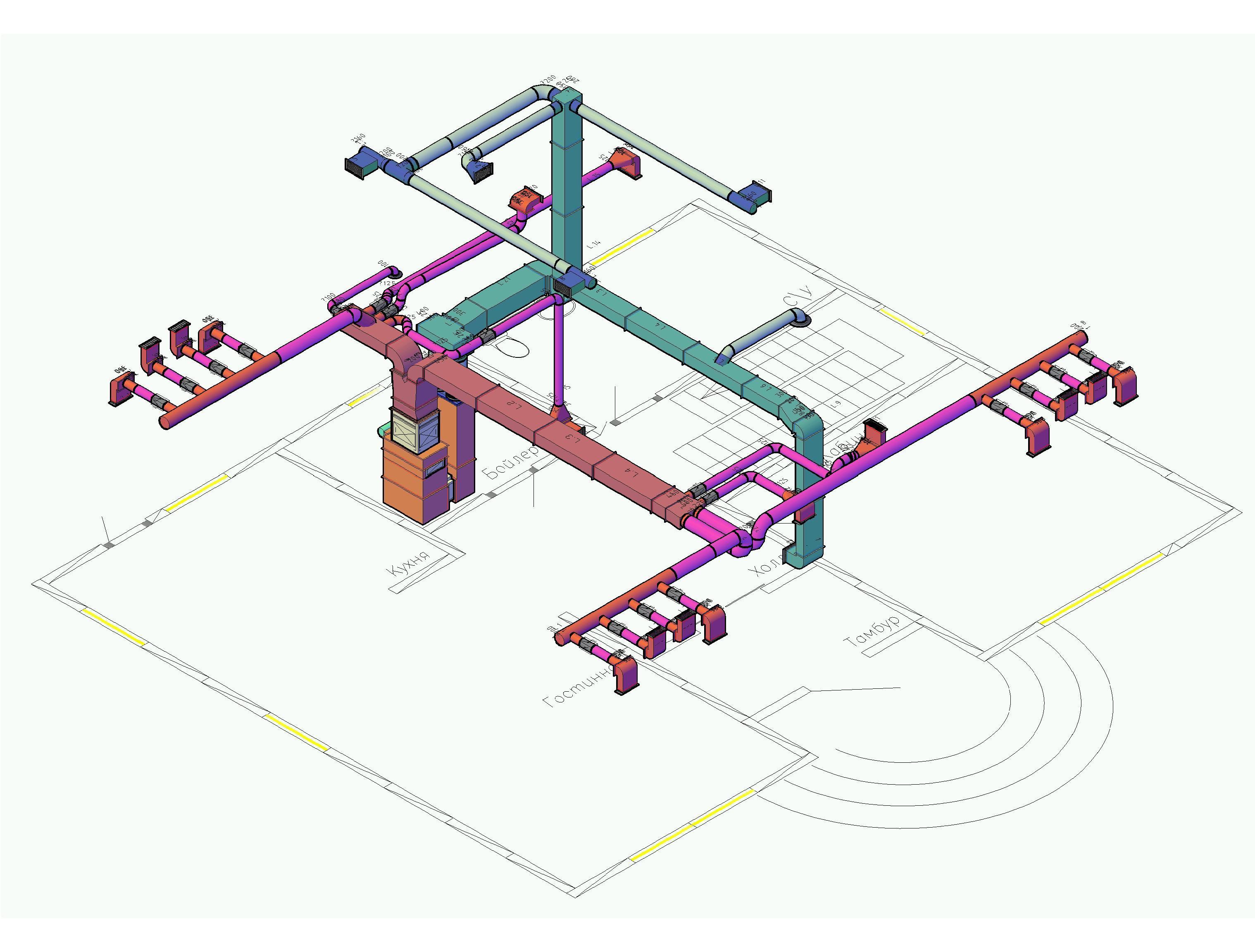 схема монтажа воздушное отопление